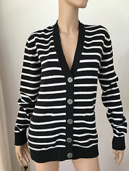 CHANEL cashmere cardigan black white 40
