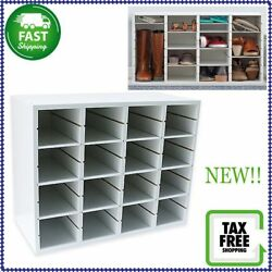 Real Simple 16 Pair Easy Asssemble Shoe Storage Organizer In White NEW!!