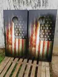 RUSTIC AMERICAN FLAG .Cornhole Board Game Decal Wraps Vinyl Sticker USA
