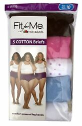 Fit for Me® by Fruit of the Loom® Women's Cotton Briefs 5-Pack      100% Cotton  $11.99