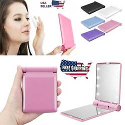 Makeup Compact Mirror Cosmetic Folding Portable Pocket with 8 LED Lights Lamps $5.39