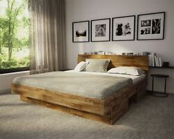 Rustic Royal Oak Bed Hand Built Natural Solid Wood Modern Design Limited qty