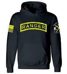 Distressed Ranger Tab Hooded Sweatshirt I US Army Ranger I Veteran I Military