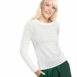 La Redoute Womens Crew Neck JumperSweater With Back Button Fastening White Xl