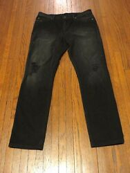 Men's BDG Black Distressed Light Beached Slim Stretch Fit Denim Jeans sz 32 x 32