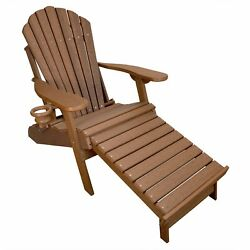 New Deluxe Outer Banks Wood Grain Poly Adirondack Chair with Integrated Footrest