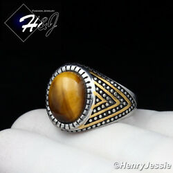 MEN's Stainless Steel Oval Tiger Eye GoldSilver Ring Size 8-13*TR115