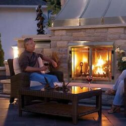 OUTDOOR GAS FIREPLACE NAPOLEON GSS42 WITH DOOR AND LOGS - STAINLESS STEEL