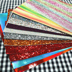 150g Mix Fine Chunky Glitter Fabric Offcut Scrap Pack Leather Vinyl Craft Bows