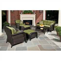 Outdoor Resin Wicker 6 Piece Patio Furniture Set with Green Seat Olefin Cushions