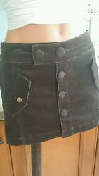 RED BY MARC ECKO Juniors Size Brown Corduroy Mini Skirt LOGO NWT$39 $6.99