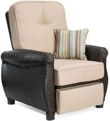 Home Furniture Lounge Chair Patio Brown Wicker Outdoor Recliner with Cushion New