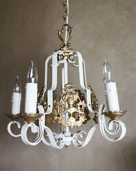 Rare Coat of Arms French Antique Painted Ormolu Gilt Chandelier Vintage Antique $687.50
