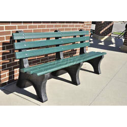 6' Central Park Bench Recycled Plastic Green Lot of 1