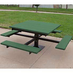 4' T-Table Recycled Plastic Green Lot of 1
