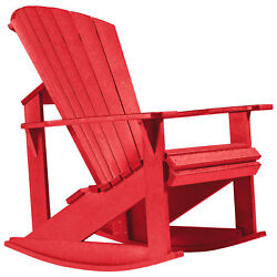 Recycled Plastic Adirondack Rocking Chair Red 34