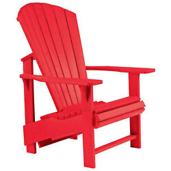Recycled Plastic Upright Adirondack Chair Red 27