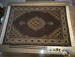"Persian Tabriz rug Silk and wool   4' 10"" X 3' 4"" never used 3x5"
