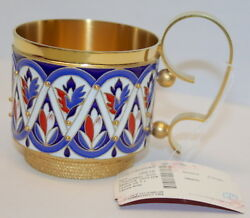 Russian silver 925 & 24k Gold Plated Tea Cup Holder Enamel Filligree