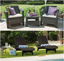 5 Piece Brown Resin Wicker Patio Bistro Lounge Set Home Outdoors Furniture Deck