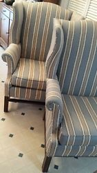 Pair (2) Striped Fairfield Chippendale Wing Back Chairs Wingback North Carolina