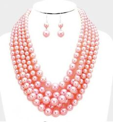 Long Pink Bead Pearl Multi Layered Necklace Strand Jewelry Earring Set