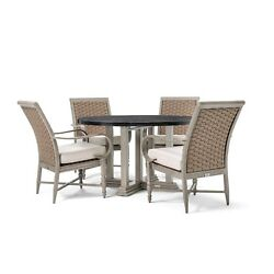 Blue Oak Outdoor Saylor Patio Furniture 5 Piece Dining Set (Round Natural Stone