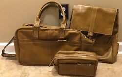 NEW 3PC Pottery Barn Beckett Leather Travel Backpack Weekender and Toiletry Case