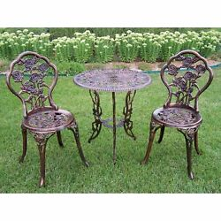 Wrought Iron Patio Bistro Set Outdoor 3 Piece Rose Garden 2 Chairs 1 Table