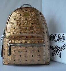 NWT Authentic MCM Logo Coated Canvas Leather Medium Backpack In Metallic Gold