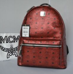 NWT Authentic MCM Logo Coated Canvas Leather Medium Backpack In Scooter Red