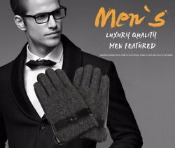 Winter Men Gloves Lamb Leather Luxury Business High Quality Fashion Cashmere Hot