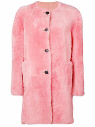 NEW MARNI Coat CPMXM26BM0LM186 shearling lined coat DOUBLE face Rose Pink