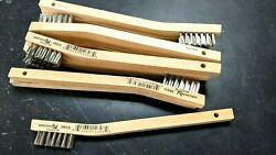 New 12 Stainless Steel Mini Wire Brushes w wood handle Tooth brush Free Ship $13.99