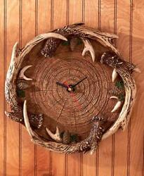 Log Slice Deer ANTLER Wall Clock Rustic Hunting Cabin Lodge Home Decor