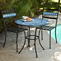 3 Piece Mosaic Tile Metal Bistro Patio Set Outdoor Home Seating Furniture Garden