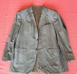Kiton Grey Pinstripe Wool Suit Slightly Used Size 52 with Silk Lining