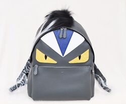 Fendi Men's Monster Backpack With Mohawk Fur Crest GrayBlack MSRP $5150