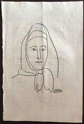 Picasso Original Graphite Hand Signed Drawing Woman With Scarf