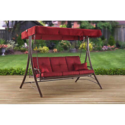 Furniture Deck Porch Swing With Canopy Cover Patio Outdoor Garden Deck 3 Seat