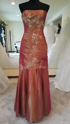 Pink Burgundy Metallic  Prom Dress Party Evening Long Formal Cocktail Size 10  $130.00