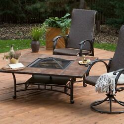 Outdoor Patio Square Table Fire Pit Garden Backyard Furniture With Cover Brown