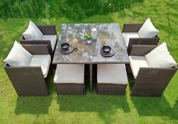 9 Piece Outdoor Seating Set Patio Garden Brown Wicker Cushions Chairs Ottomans