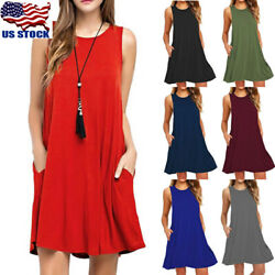 Womens Sleeveless Pocket Casual Loose T-Shirt Beach Evening Party Short Dress US