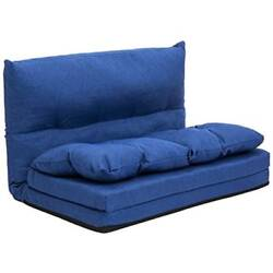 Fabric Chaise Lounges Folding Sofa Video Gaming Chair Floor Couch Blue