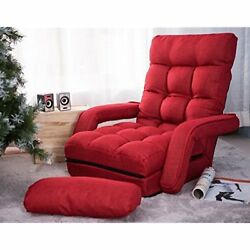 Folding Chaise Lounges Lazy Sofa Floor Chair Lounger Bed With Armrests And (Red)