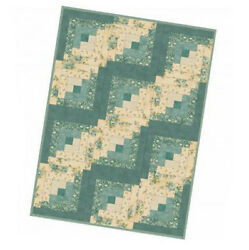 Quilting Sewing WELCOME HOME LOG CABIN BLUE QUILT KIT inc Fabric New