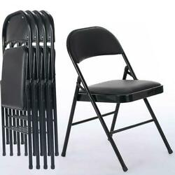4Pcs Black Folding Chairs Fabric Upholstered Padded Seat Metal Frame Home Office $61.99