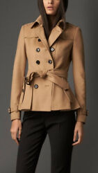 New Burberry London Camel Double Breasted Cashmere Blend Coat Womens US12
