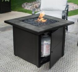 Patio Fire Pit Propane Ceramic Tile Table Outdoor Entertaining Heater Electronic